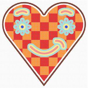 Orange-shaded patchwork heart, with cute smiley shapes.