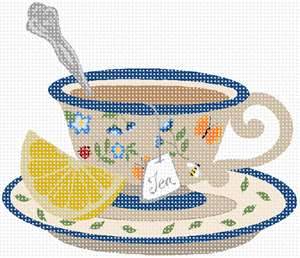Vintage porcelain teacup with painted bumblebees, butterflies, ladybugs, and blue flowers. All this canvas is missing is a sugar cube to suck on while the hot tea melts it on your tongue. Teacups and teapots are popular needlepoint items - especially vintage ones like this. See coordinating teacup design.