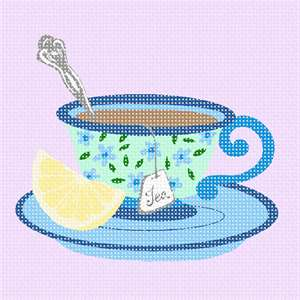 Whimsical teacup with spoon and lemon.  All this canvas is missing is a sugar cube to suck on while the hot tea melts it on your tongue.