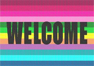 Vivid stripes and color enhance this lovely Welcome sign. Stitch as a gift for newlyweds, or a someone you love that is moving into a new home. Or stitch it for your own summer cottage, log cabin, condo, or ranch.