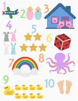 "Numbers 1 through 10 are our counting numbers. The truth is, children will recite numbers before they actually understand the concept behind them. Though every child is different, most toddlers will be able to count to 10 by the time they are two-years-old. At this point in time they are probably repeating them mostly by memory and have yet to understand what they actually mean. This concept is known as ""rote"" counting. Rote counting is when a child can say numbers in order, and is mostly learned through hearing the numbers repeatedly said out loud by others.  That's why there are so many number songs and rhymes. This delightful needlepoint counts one through ten with twins for two, The Three Little Pigs, five stars, seven colors of the rainbow, eight octopus legs, six sides of a dice, ten toes, and more. The colors coordinate with our Whimsical ABC, so save on threads when purchasing together."