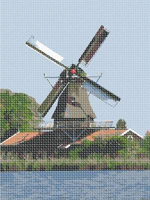 A windmill at the water's edge in needlepoint