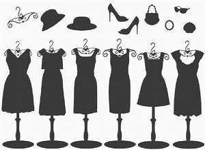Women's dresses and accessories in silhouette.A silhouette (English: /ˌsɪluˈɛt/ SIL-oo-ET, French: [silwɛt]) is the image of a person, animal, object or scene represented as a solid shape of a single color, usually black, with its edges matching the outline of the subject.