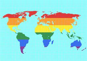 Map of the our world in colorful rainbow pattern