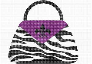 Stitch a zebra pocketbook with a purple flap and fleur de lis.  A sophisticated feminine needlepoint.