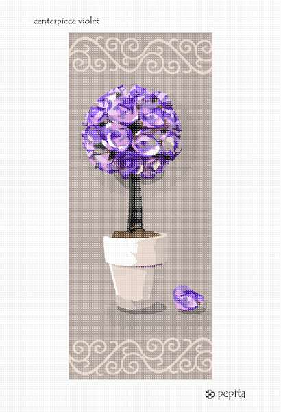 Needlepoint canvas centerpiece violet