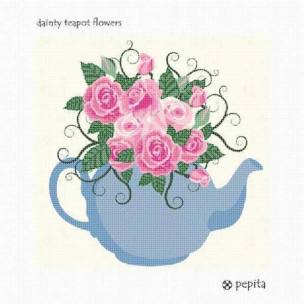 Needlepoint Canvas Dainty Teapot Flowers