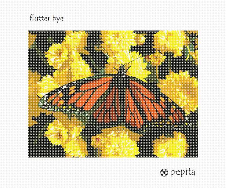 Needlepoint Canvas - Flutter Bye