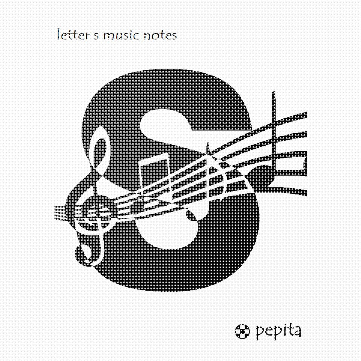 Needlepoint Canvas - Letter S Music NOTES