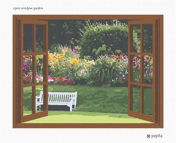 Needlepoint Canvas Open Window Garden