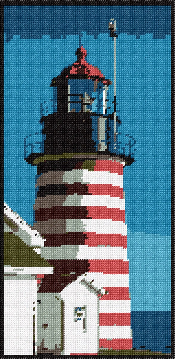 Needlepoint Canvas Red And White Lighthouse